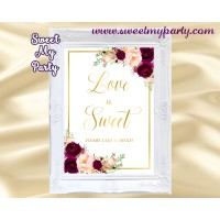 Burgundy Love is Sweet sign, Gold love is sweet sign, (61c)