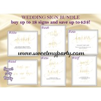Wedding gold signs bundle,Gold Wedding signs set,(025w)