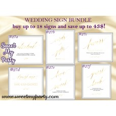 Wedding gold signs bundle,Gold Wedding signs set,Gold wedding signs kits,(027w)
