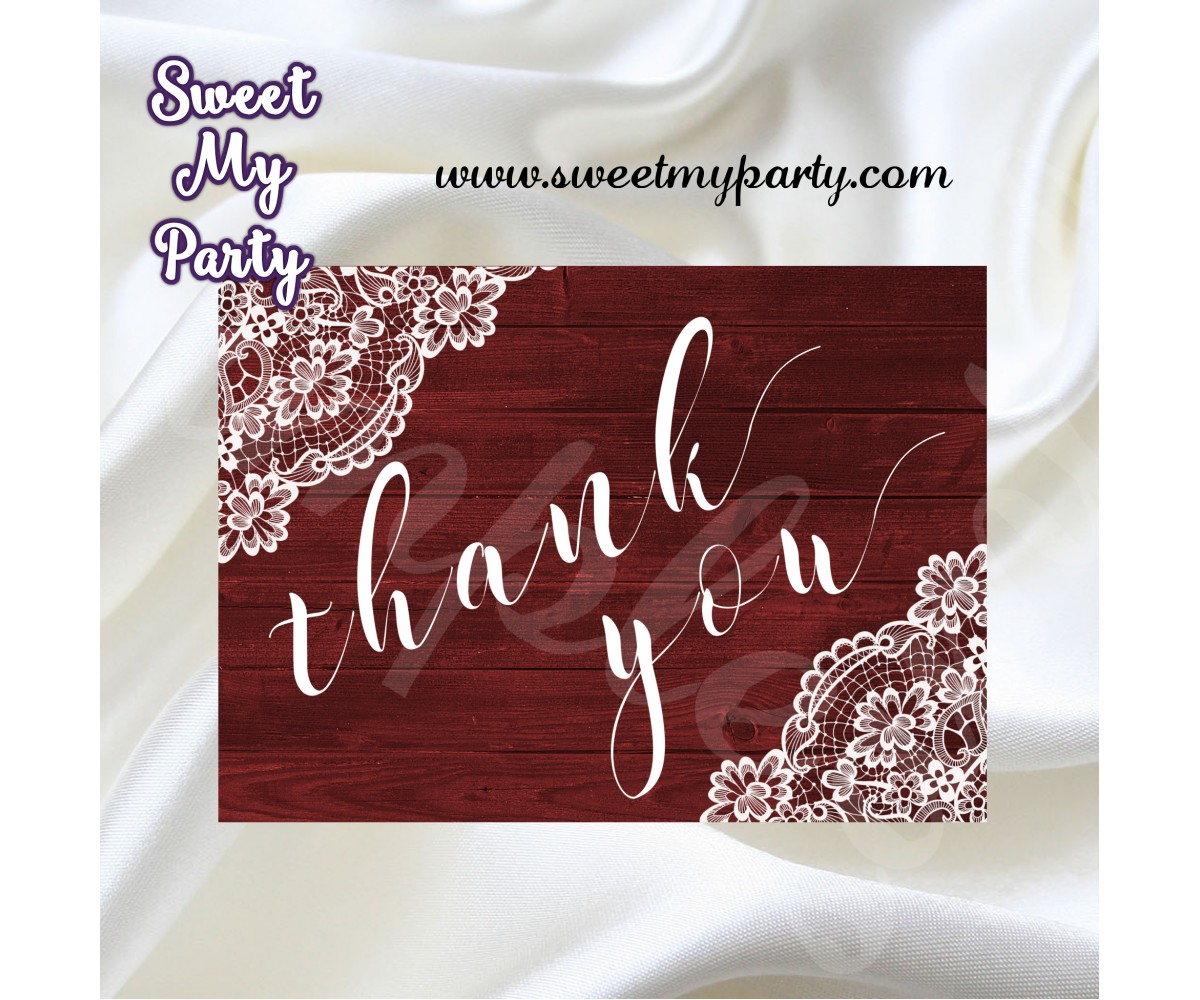 Rustic Wedding Thank You Card Wood Lace