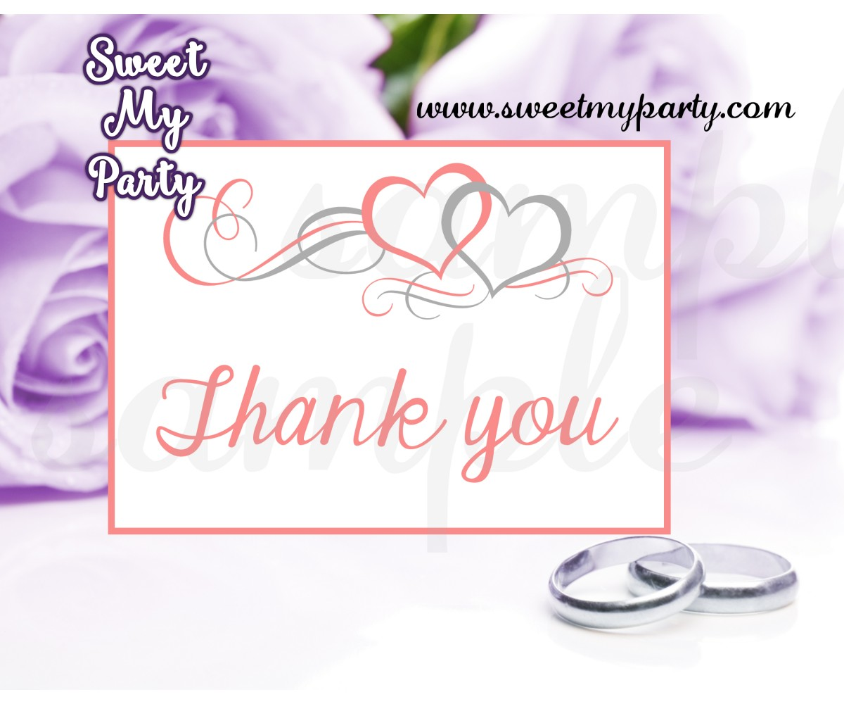 Hearts Wedding Thank You card,Coral Hearts Wedding Thank You Cards,(018w)
