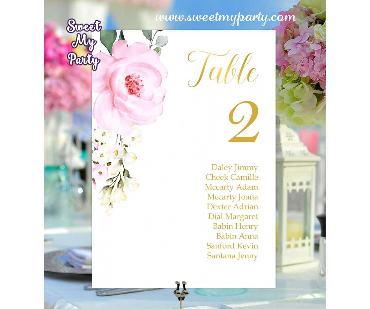 Cream pink roses seating chart cards printable,seating chart cards,(135)