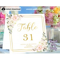 Blush table numbers folded,Floral table numbers template printable, (130)