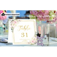 Floral table numbers folded,Gold table numbers template printable, (130)