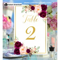 Burgundy Wedding Table numbers, Burgundy gold table numbers, (61c)