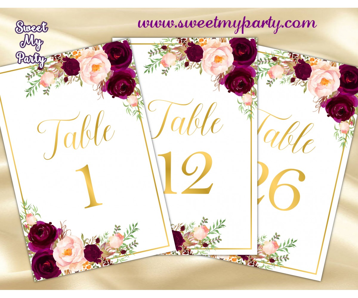 photograph regarding Table Number Printable identify Burgundy Wedding ceremony Desk quantities, Burgundy gold desk figures, (61c)