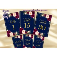 Burgundy Table numbers printable,Navy table numbers printable,(84w)