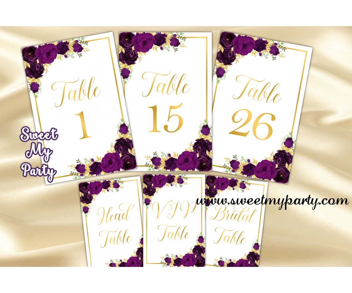 Eggplant Wedding Table numbers, Eggplant table numbers,(19w)