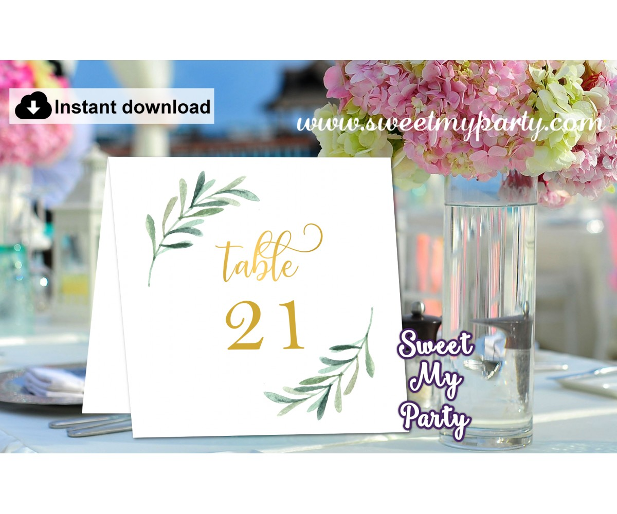 Greenery table numbers folded,Olive table numbers template printable, (78)