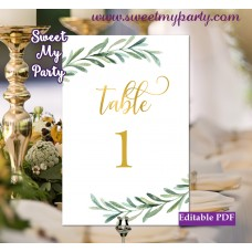 Greenery table numbers template,Olive table numbers template printable, (78)