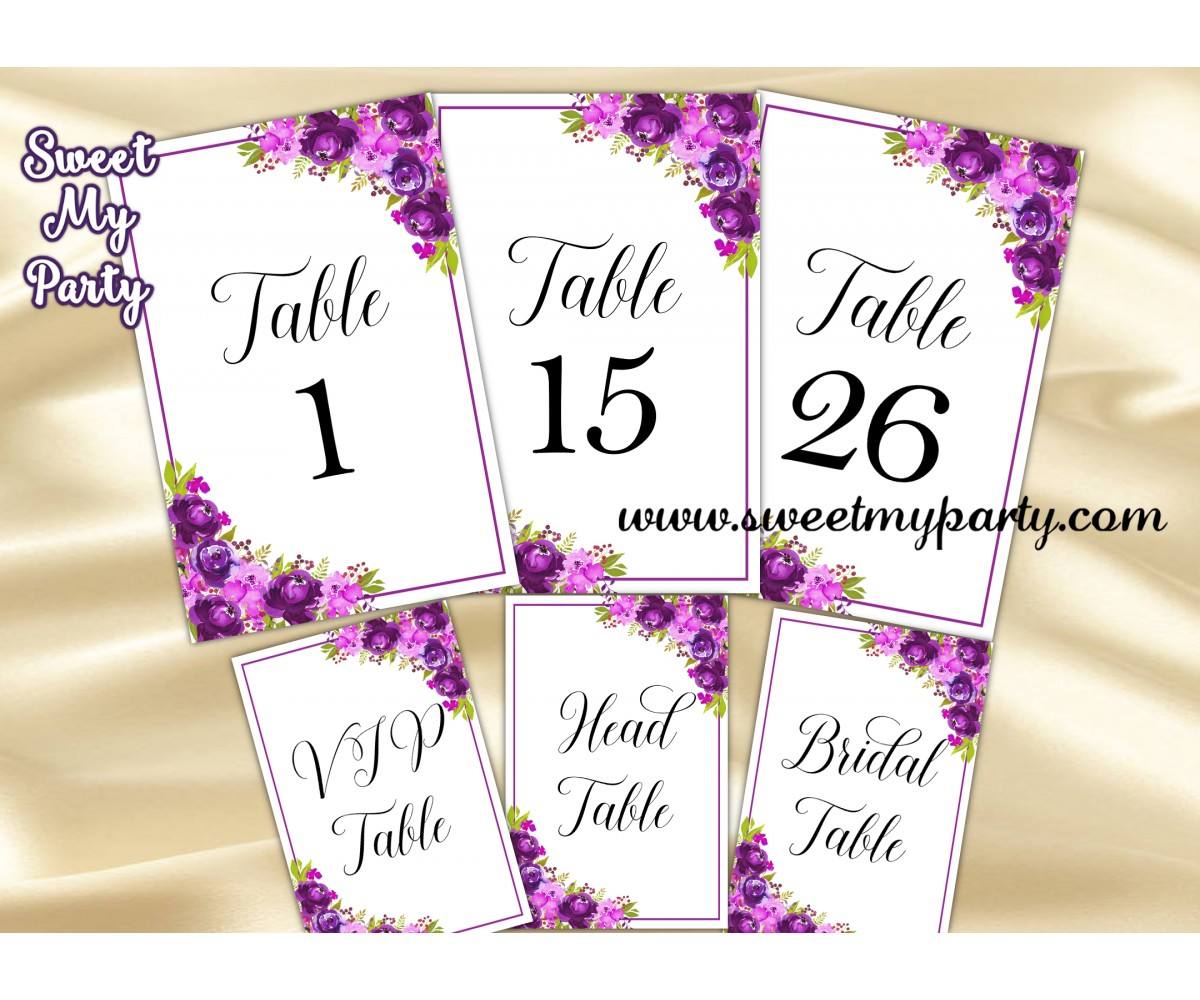 737008d91fed1 Purple table numbers|Violet table numbers printable|floral table ...