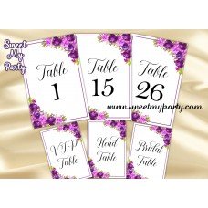 Purple Wedding Table numbers,Violet table numbers,(33cw)