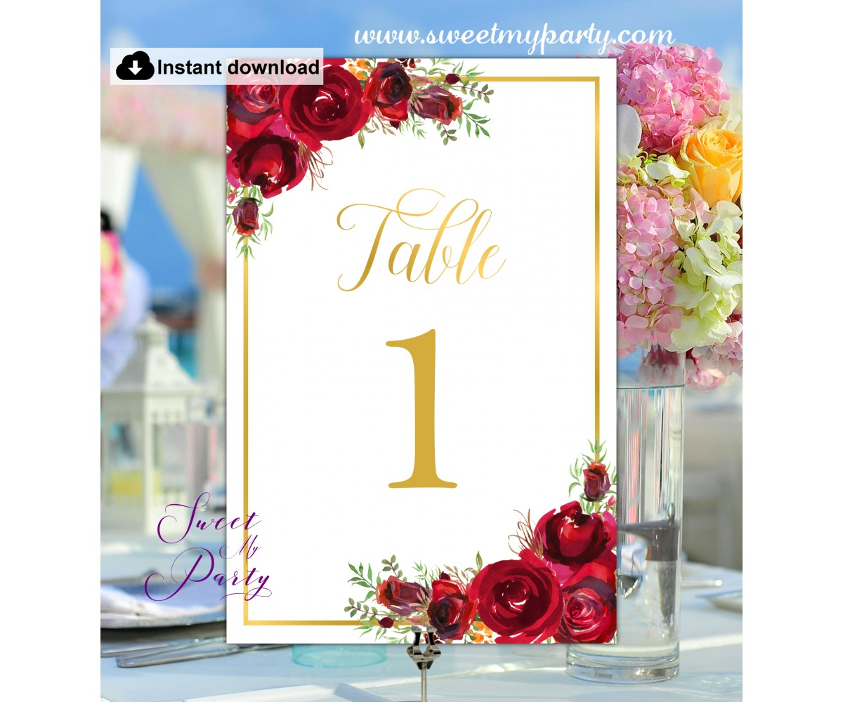 Red Roses Table Numbers template,Red Roses Table Numbers printable,(16w)