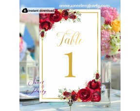 Red Roses Table Numbers printable template, (16w)