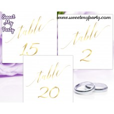 Gold Wedding Table numbers, gold table numbers,(27w)