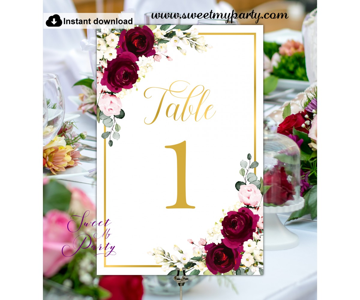 Burgundy Ivory Table Numbers printable template, (124)