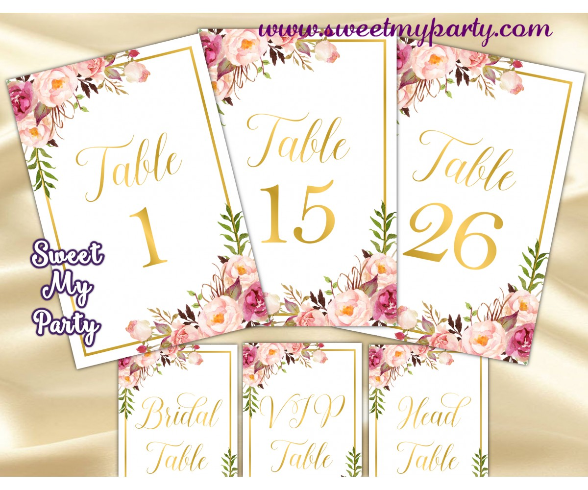 image about Table Numbers Printable referred to as Blush desk figures printable,Gold desk quantities,(31gw)