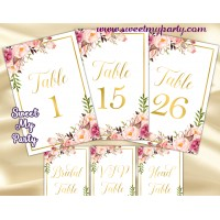 Floral table numbers printable,Blush table numbers,(31gw)