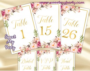 Blush table numbers printable,Gold table numbers,(31gw)