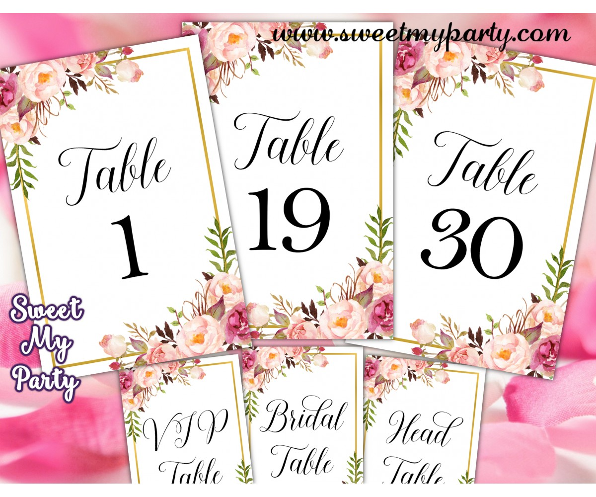 image about Printable Table Number called Floral desk figures printable,Blush desk figures printable,(31gw)