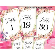 Floral table numbers printable,Blush table numbers printable,(31gw)