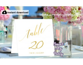 Gold Table Numbers printable,Modern Calligraphy table Numbers template, (27)