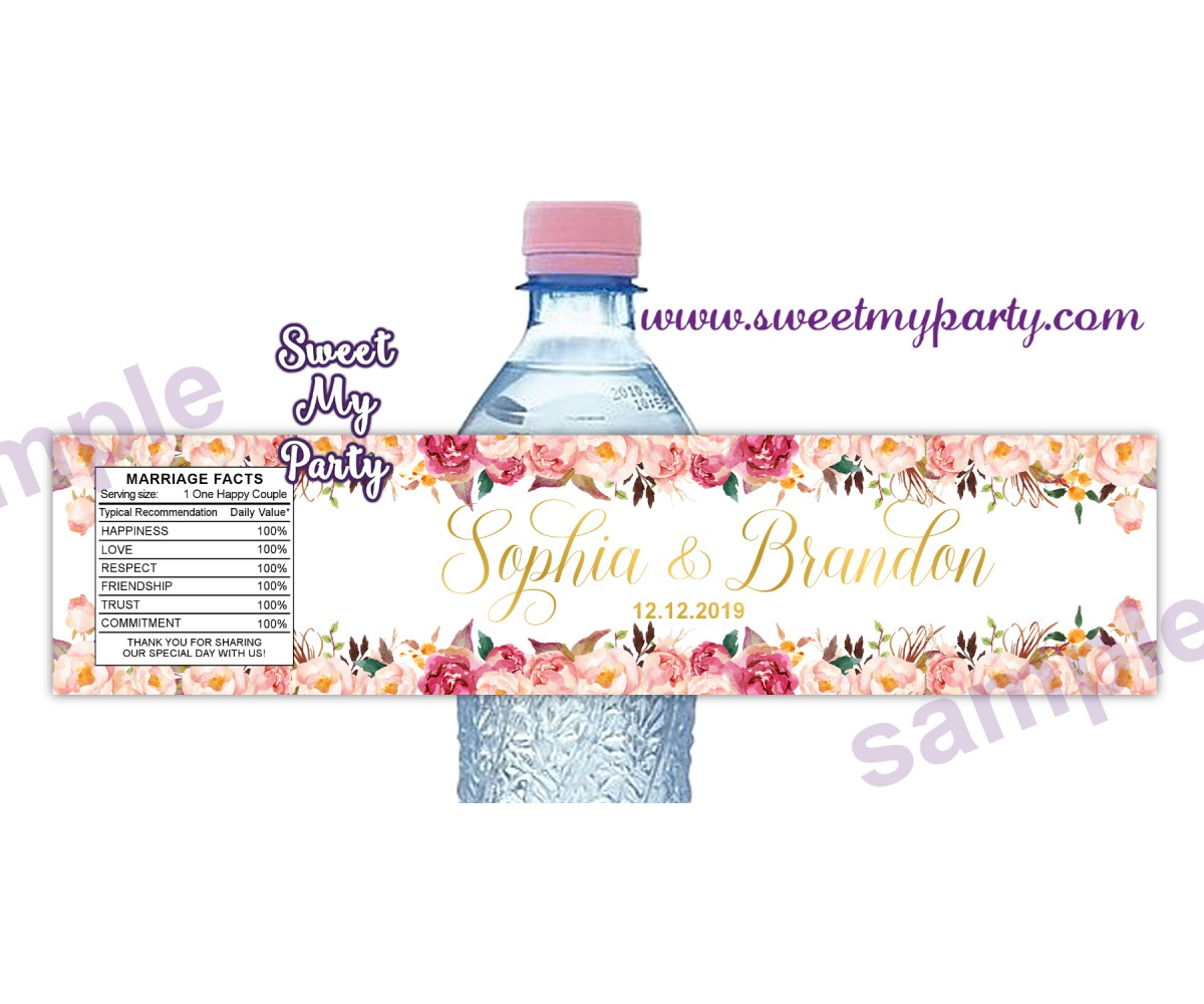 Floral water bottle labels for wedding,Blush water bottle labels, (31d)