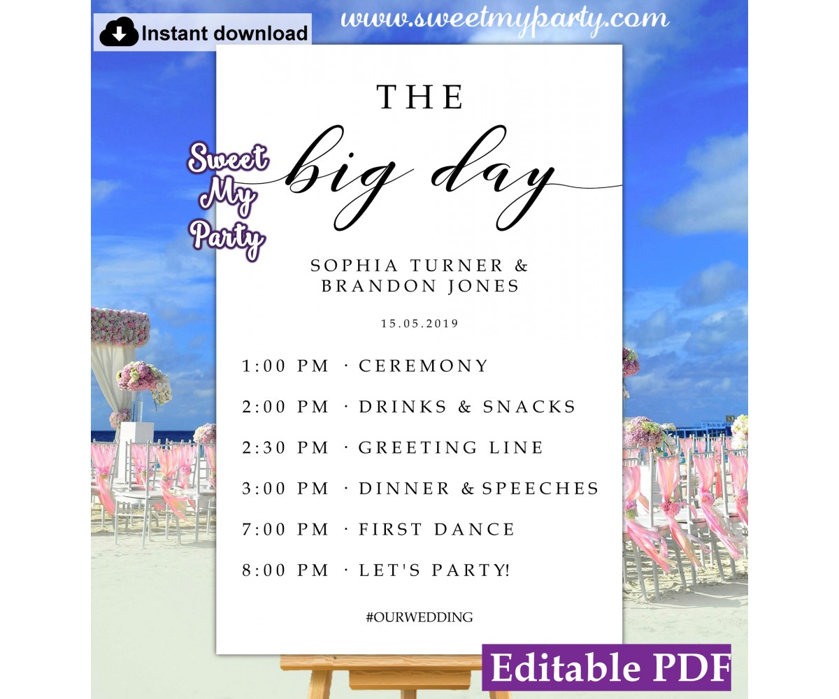 Modern Calligraphy The Big Day sign template,Order of the Day sign, (47)