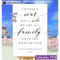 Modern Calligraphy Choose a Seat not a Side sign template (47a)