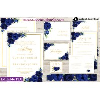 Navy Blue Invitation suite template,Blue invitation set, (39)
