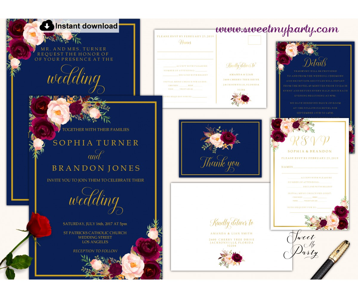 Navy Burgundy Invitation suite template,Navy Burgundy invitation set, (147)