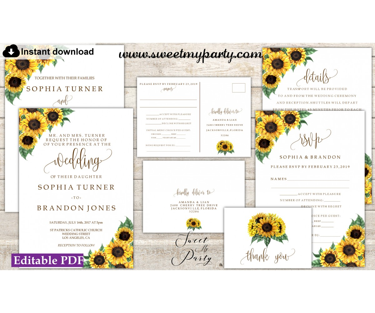 Sunflowers Invitation suite template,Sunflowers invitation set, (143)