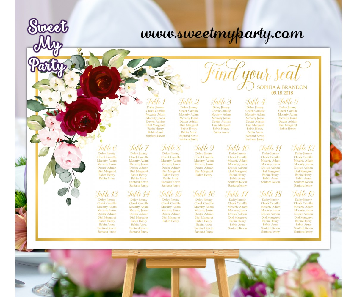 Burgundy Seating Chart,Ivory Seating Plan,(124aw)