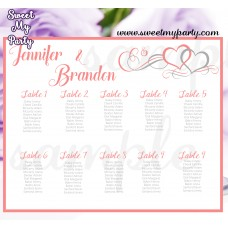 Hearts Wedding Seating Chart,Coral Hearts Wedding Seating Plan,(018w)