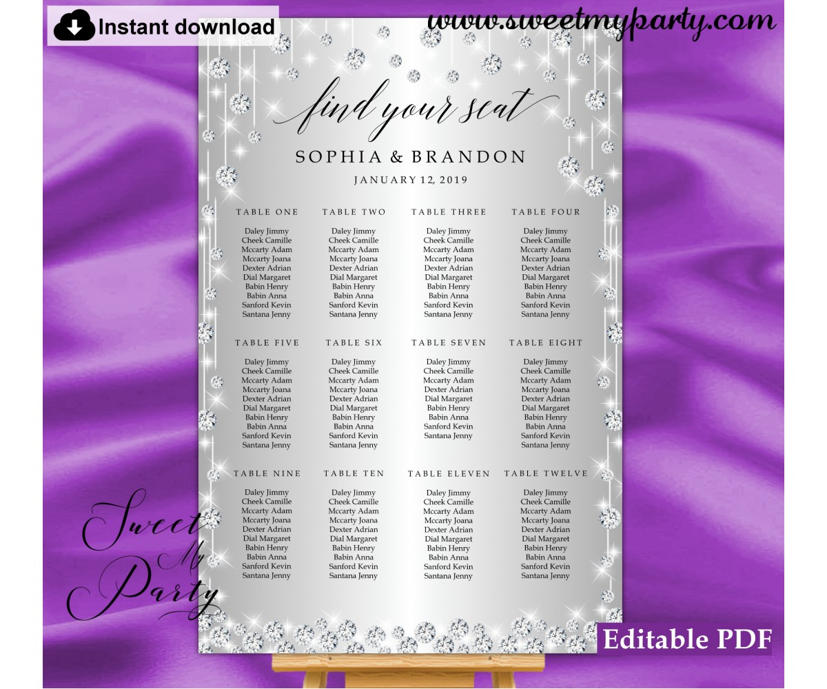 Silver diamonds seating chart,Silver sparkly seating chart,(015w)