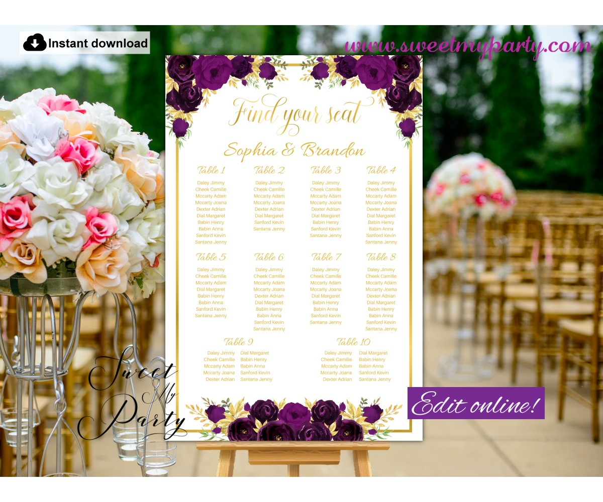 Eggplant Seating Chart template,Eggplant Seating Plan template,(19w)