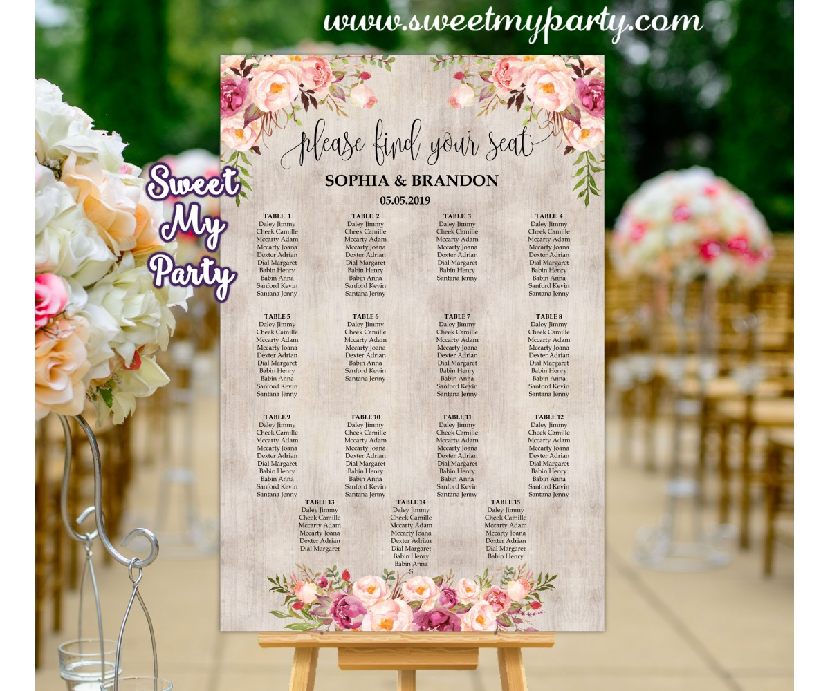 Seating Chart Wedding.Boho Wedding Seating Chart Floral Wedding Seating Plan Design 031