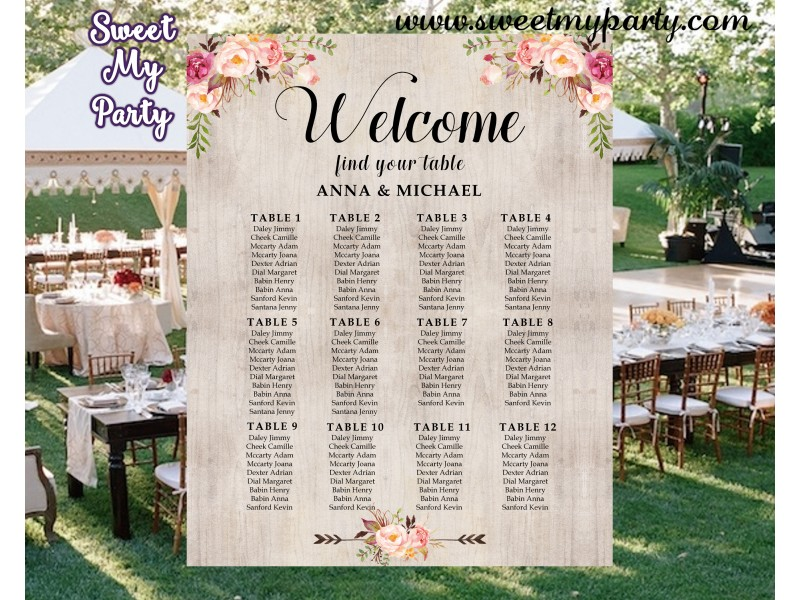 Floral Wedding Table Planfloral Wedding Seating Planrustic Wedding