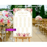 Floral Wedding Seating Chart,Blush Wedding Seating Plan, (31gw)