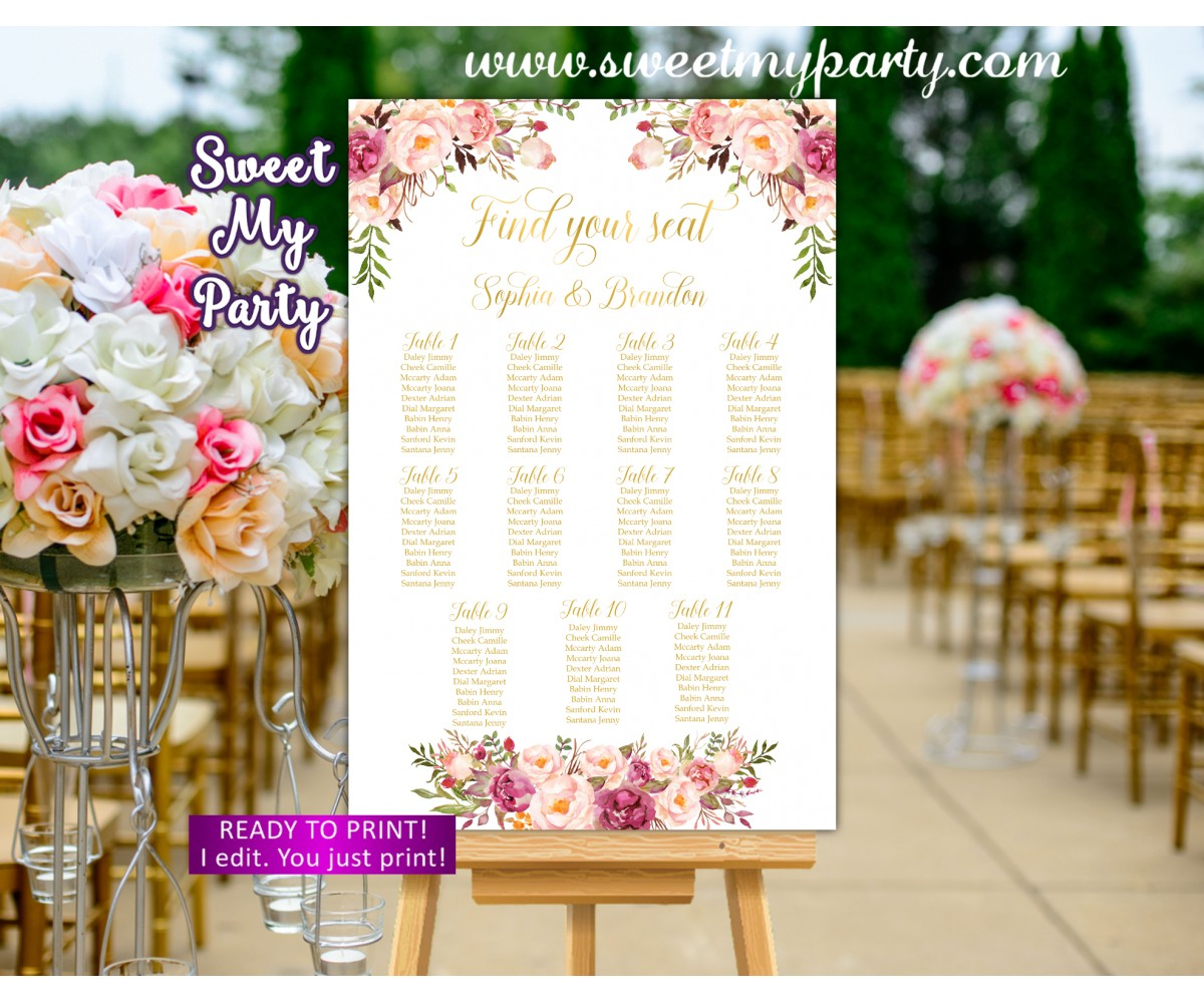 Floral Wedding Seating Charts,Blush Wedding Seating Plan, (31i)