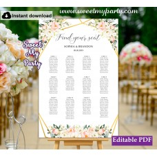 Geometric seating chart template, Ivory blush seating chart template, (128temp)