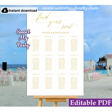 Gold Seating Chart template,Wedding Seating Plan,Gold Wedding seating chart template,(027w)