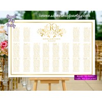 Gold Seating Chart with monogram,Gold Wedding Seating Plan,(112w)
