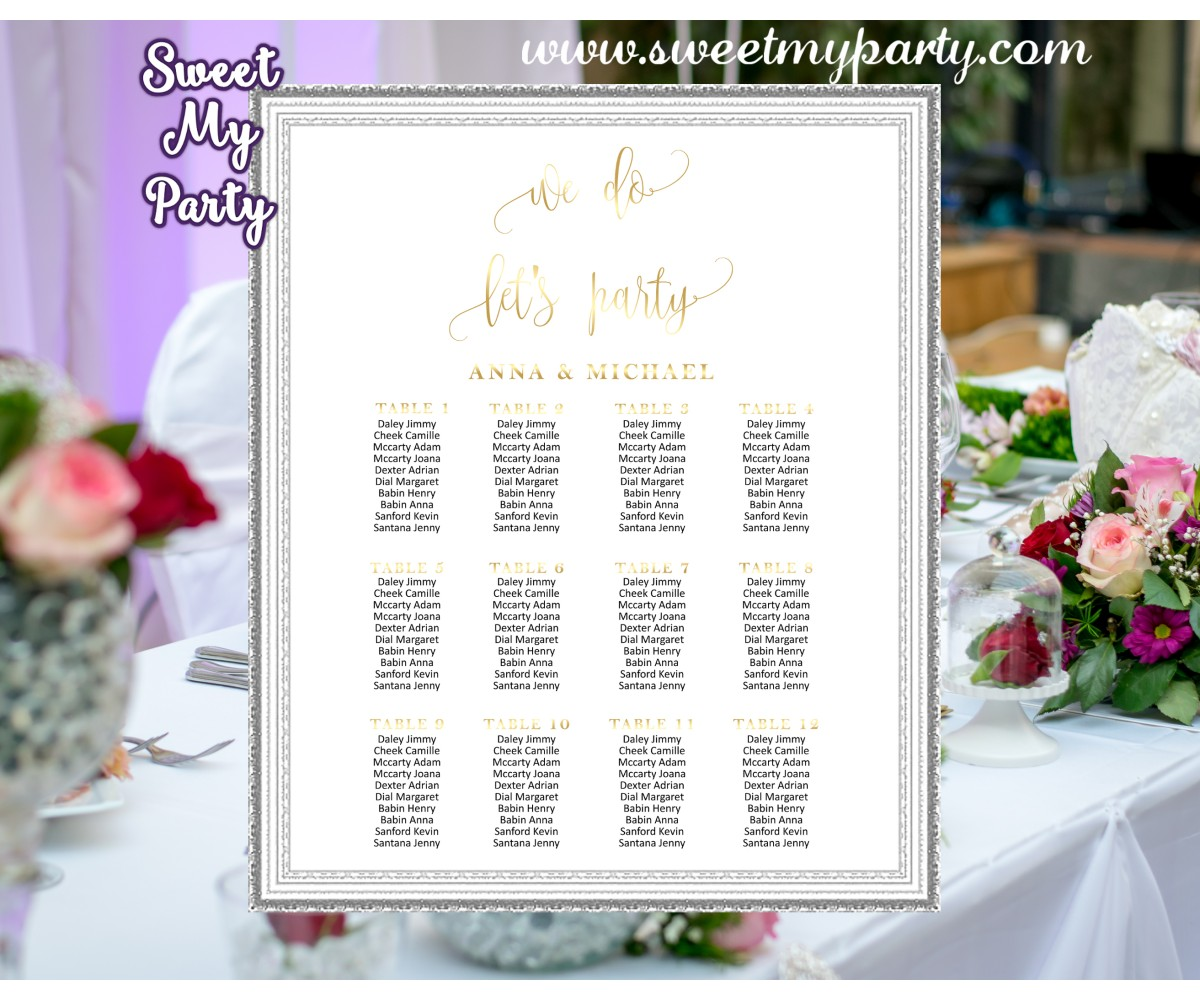 Seating Chart Wedding.Wedding Gold Seating Charts Wedding Seating Plan Gold Wedding Seating Chart 025w