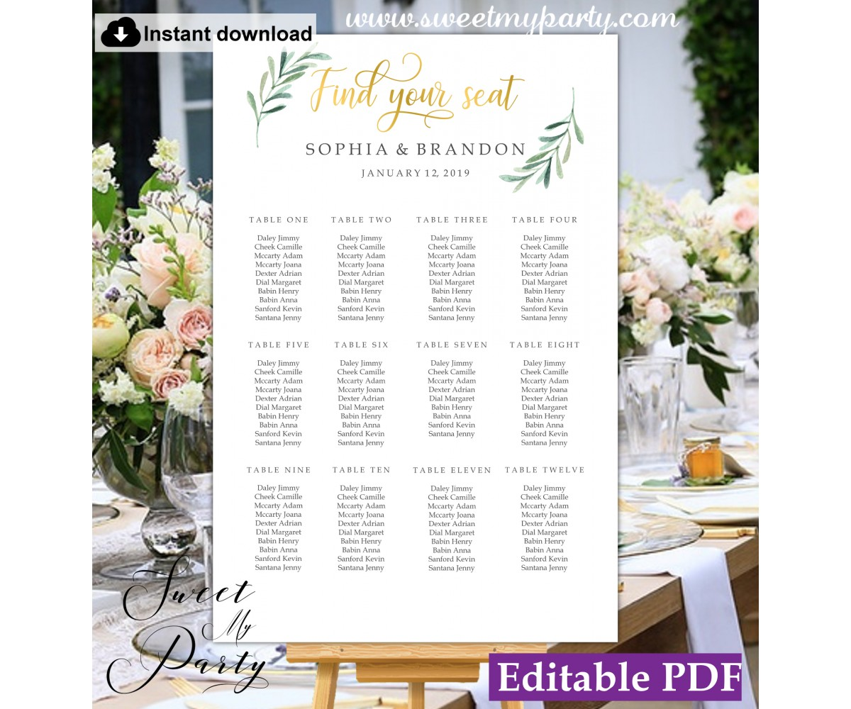 Greenery seating chart template, Gold seating chart template, (78a)