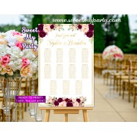 Burgundy Wedding Seating Chart,Burgundy Wedding Seating Plan, (61cw)