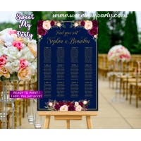 Navy Burgundy Seating Charts,Maroon Wedding Seating Plan,(84w)