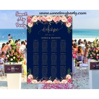 Floral Wedding Seating Charts,Navy gold Wedding Seating Plan,(055w)