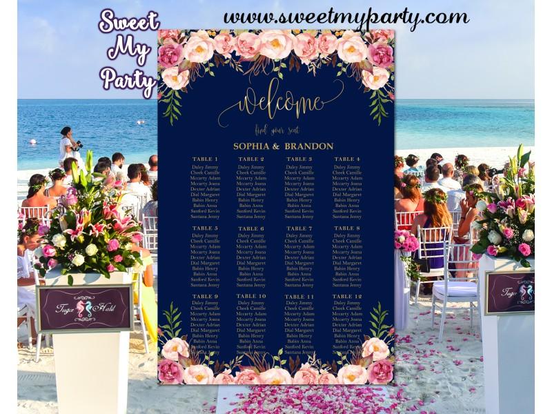Floral Wedding Seating ChartsNavy Gold Plan055w