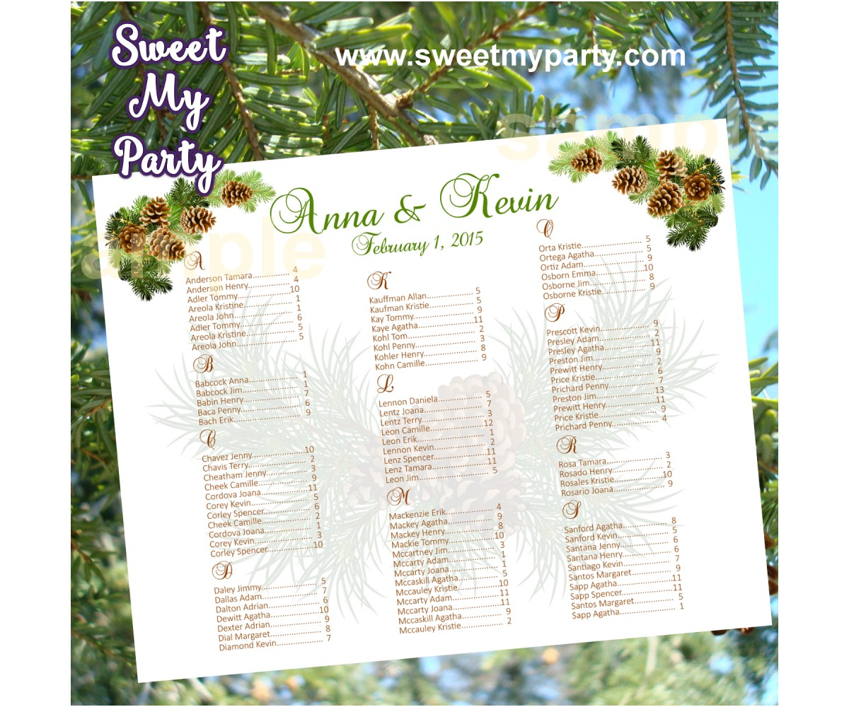 Pinecone Wedding seating chart,(014w)